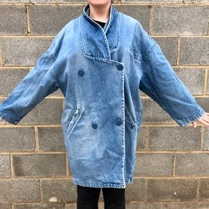 Vintage Asymmetrical Double Breasted Jean Jacket
